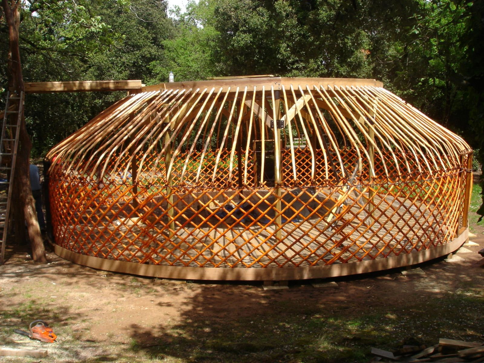 Lower yurt frame in place