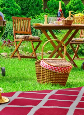 Camping Turns Into Glamping with a Green Decore Outdoor Rug